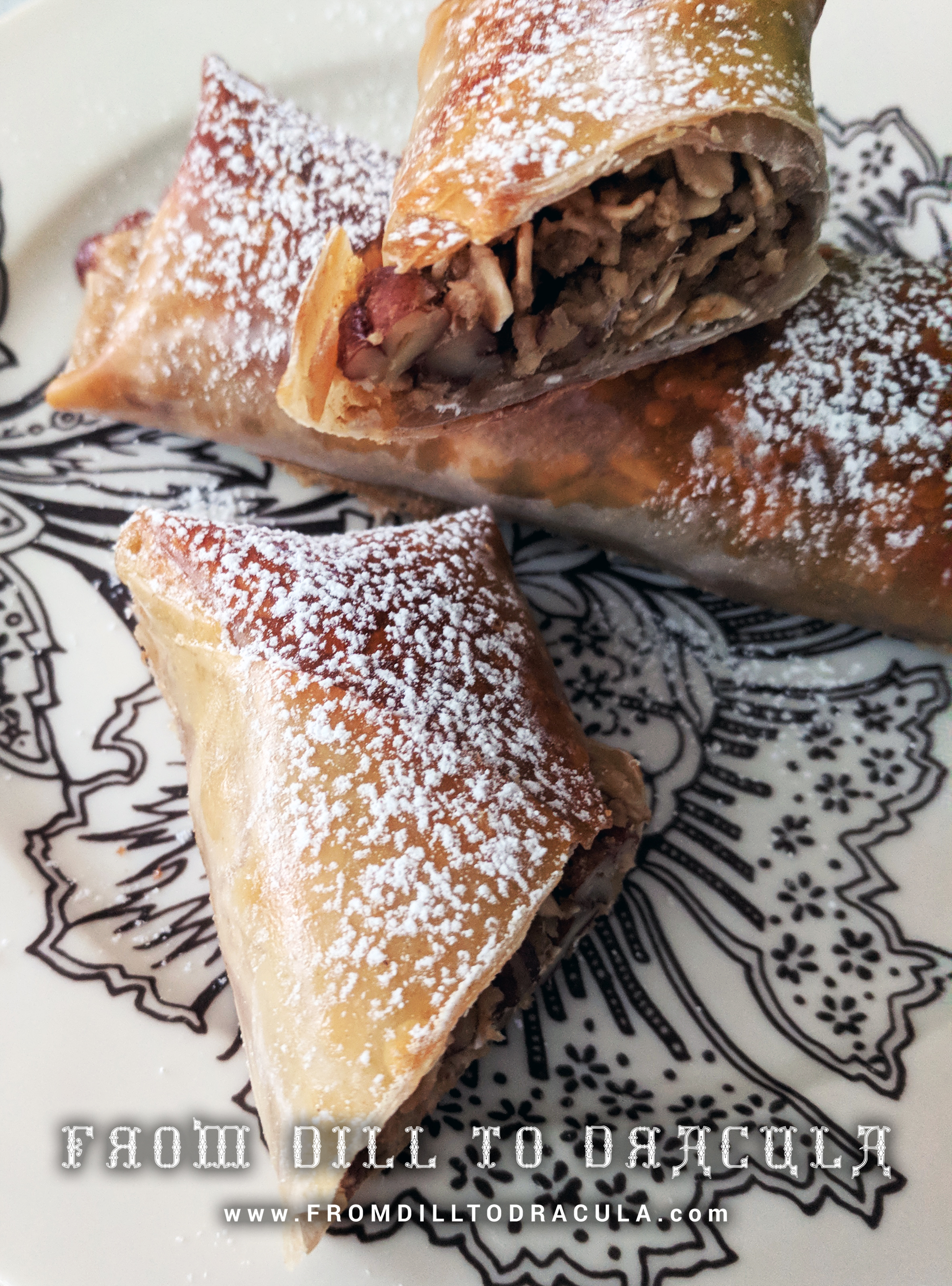 Thanksgiving Pecan Pie Egg Rolls (no corn syrup!) | From Dill To Dracula www.FromDillToDracula.com